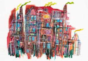 Art kunst akvarel jens haubek huset på Christianshavn